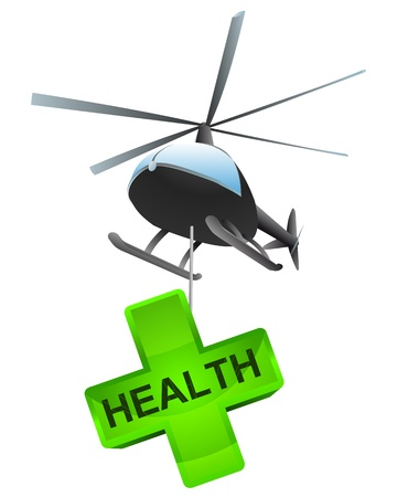 aeronautical: isolated health cross  helicopter transport vector illustration