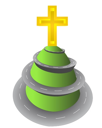 godness: spectacular road up to religious cross top vector illustration
