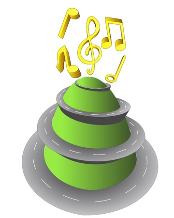 spectacular: spectacular road up to music sound top vector illustration Illustration