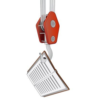 outdoor goods: crane hook lifting education book vector illustration