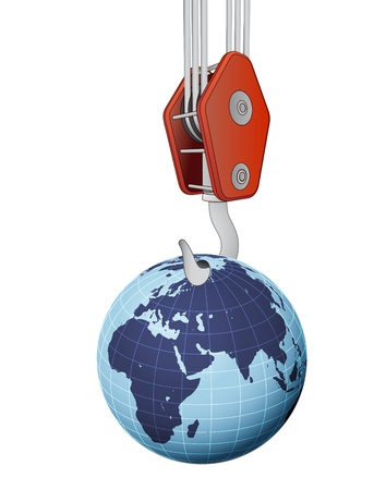 outdoor advertising construction: crane hook lifting earth globe with africa vector illustration Illustration
