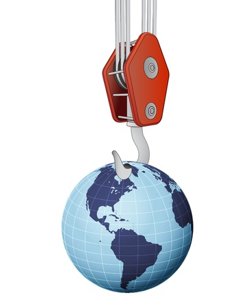 outdoor advertising construction: crane hook lifting earth globe with america vector illustration