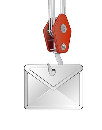 outdoor goods: crane hook lifting white envelope vector illustration