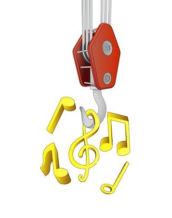 outdoor goods: crane hook lifting music sound vector illustration Illustration
