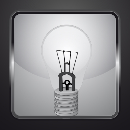 electric bulb on square button vector illustration Vector