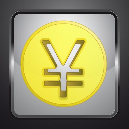 golden yuan or yen coin square button vector illustration Vector