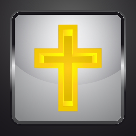 religious golden cross square button vector illustration Vector