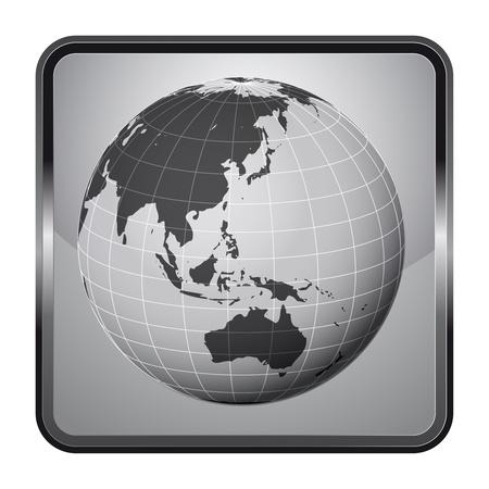 asia earth globe silver square button vector illustration Stock Vector - 21228121