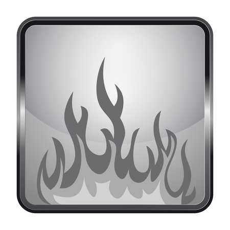 fire silver square button design vector illustration Vector