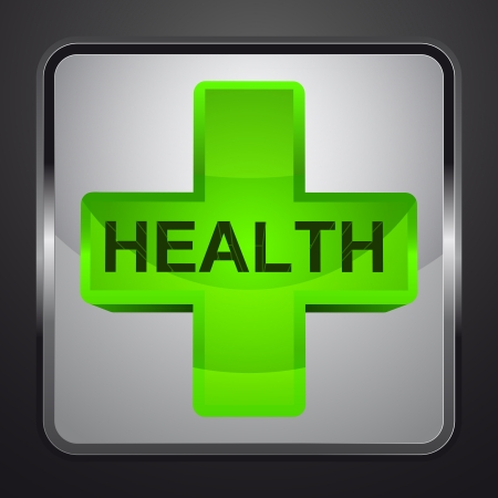 health cross silver square button vector illustration Vector
