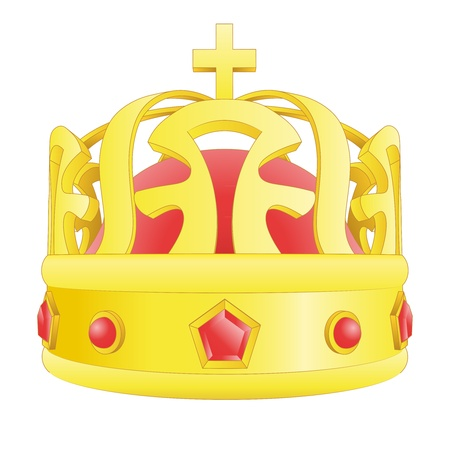kingdom of god: golden crown with red gems  and cross illustration