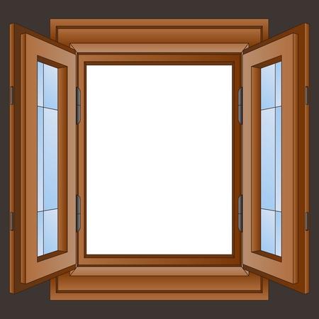 white window: marco de la ventana de madera abierto en la ilustraci�n vectorial de pared