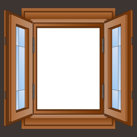 doors open: open wooden window frame in the wall vector illustration
