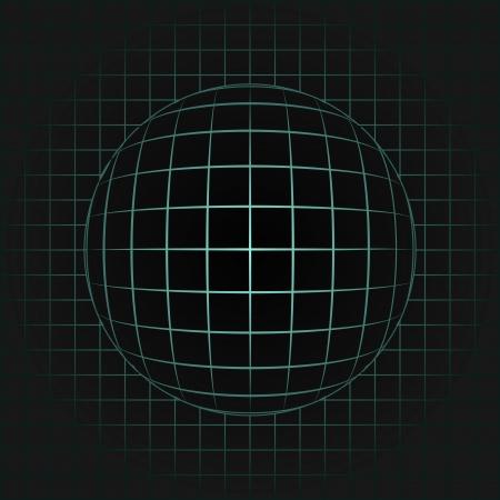 orthogonal: blue sphere in grid on black background illustration