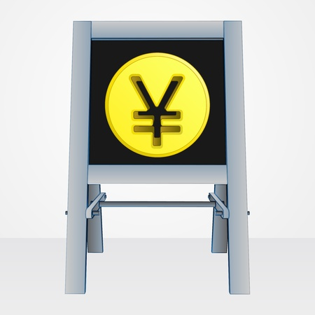 yuan or yen coin on easel board vector illustration Vector