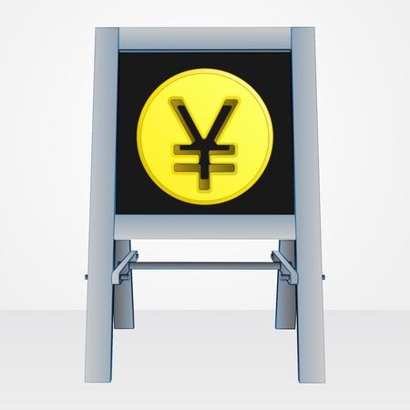 yuan: yuan or yen coin on easel board vector illustration