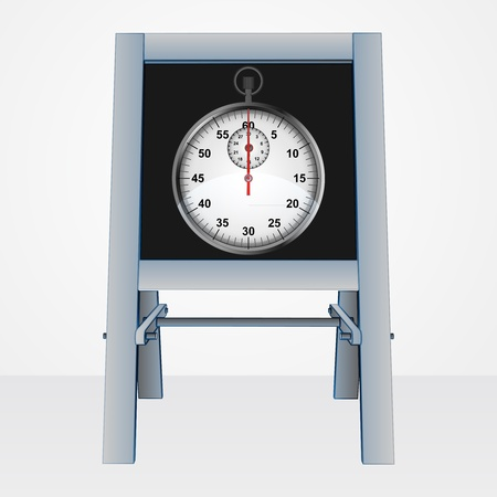 stopwatch presentation on easel board vector illustration Vector