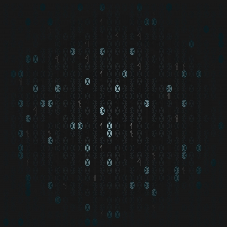 blue lighted binary code numbers on black Vector
