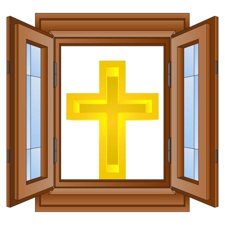 godness: catholic golden cross in window wooded frame vector illustration
