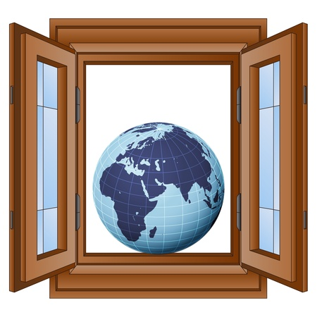 timbered: earth globe with europe in window frame vector illustration
