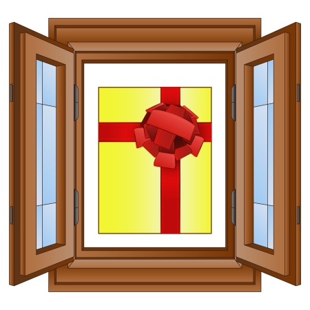 gift box in window wooded frame vector illustration Vector