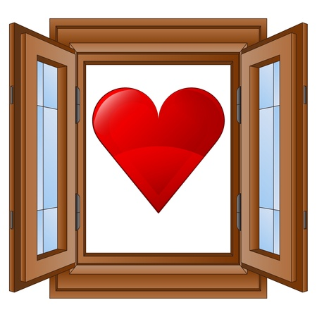 timbered: red love heart in window wooded frame vector illustration Illustration