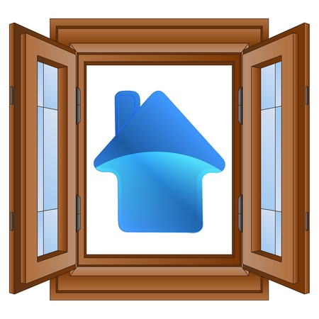 blue house icon in window wooded frame vector illustration Vector