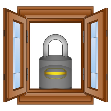 timbered: closed padlock in window wooded frame vector illustration