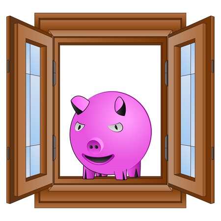 opened eye: farm pink pig in window wooded frame vector illustration