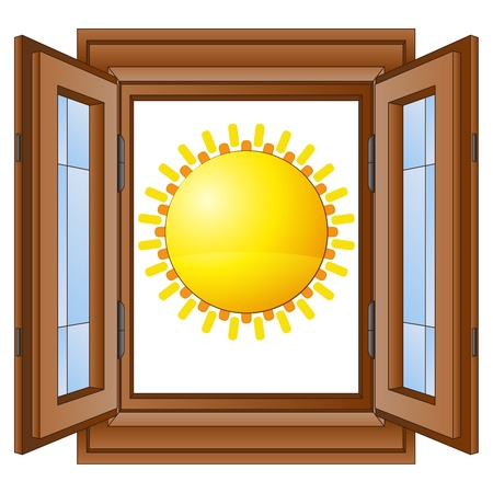 shiny sun in window wooded frame vector illustration Vector