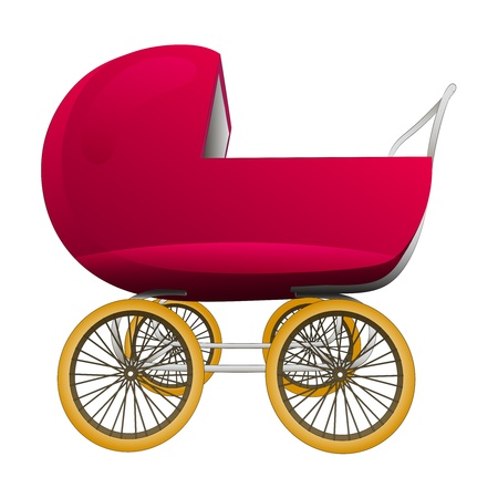 super retro red baby carriage illustration Vector