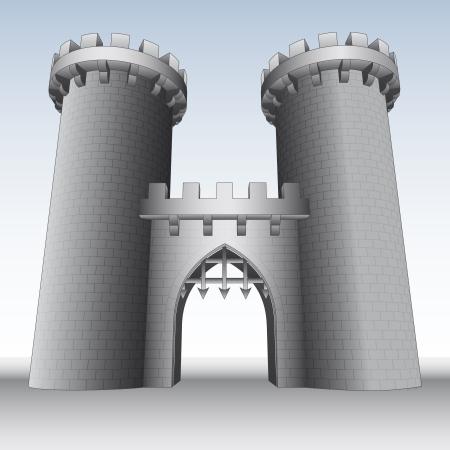bollwerk: Burgtor mit zwei T�rmen und Himmel Illustration