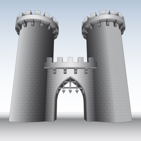 castle gate with two towers  and sky illustration Vector
