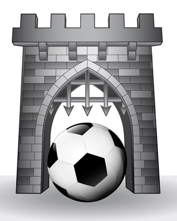 goal cage: gate pass to sport with football ball illustration