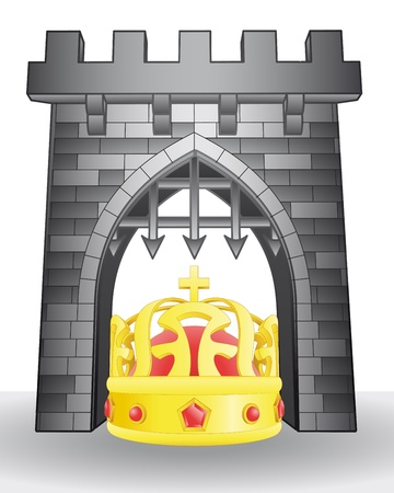 governance: gate pass to governance with crown  Illustration