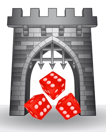 rolling landscape: gate pass to gaming with red dice