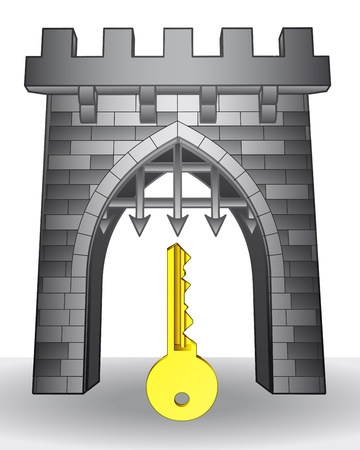 golden key: gate pass to safety with golden key  Illustration