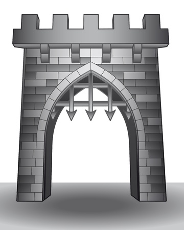 stone arch: isolated medieval castle gate on ground