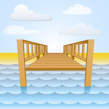 wharf: wooden pier over the water with beach and sky Illustration