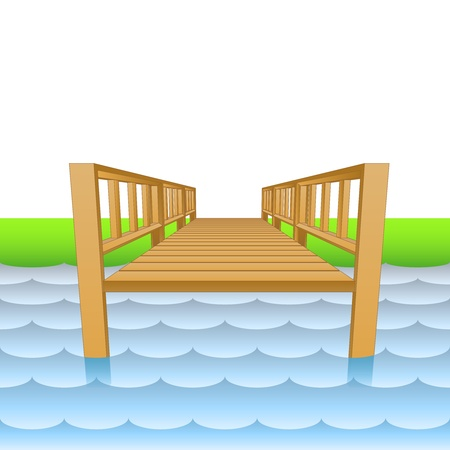 wooden pier over the river with beach