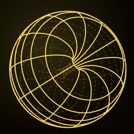 circulate: yellow line scheme sphere sketch on black  Illustration
