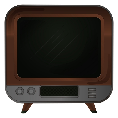 timbered: isolated retro wooden television on legs