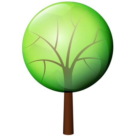 isolated deciduous tree icon drawing illustration Vector