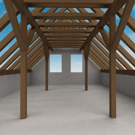 rafter: attic wooden construction perspective veiw with sky illustration