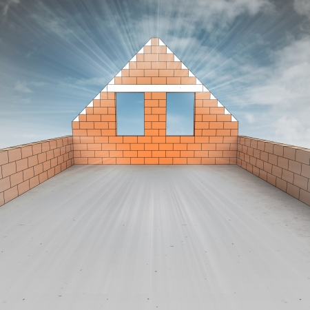 attic: attic house under construction with sky flare illustration Stock Photo