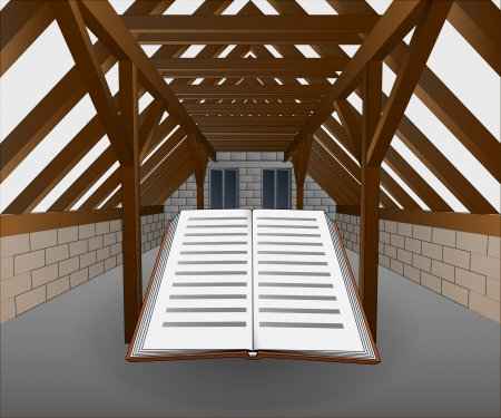 attic under construction with book vector illustration Stock Vector - 21659634