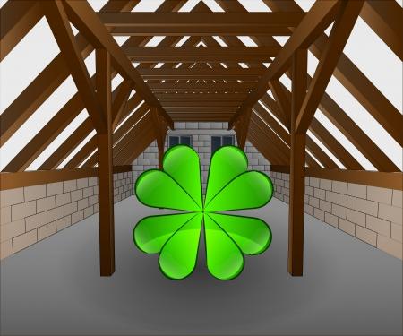 attic: attic under construction with cloverleaf vector illustration Illustration
