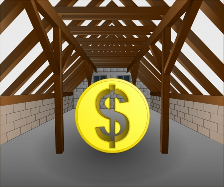 attic under construction with dollar coin vector illustration Stock Vector - 21659636
