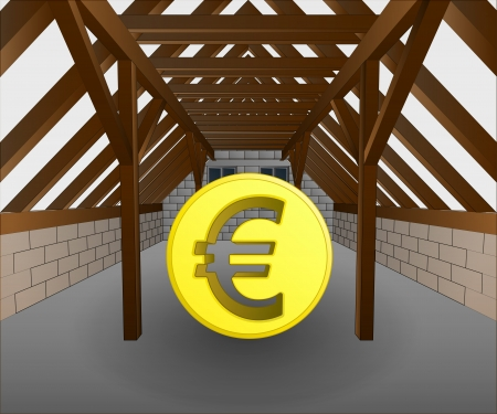 rafter: attic under construction with euro coin vector illustration Illustration