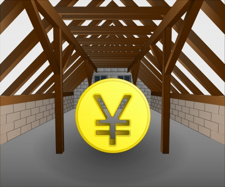 rafter: attic under construction with yen coin vector illustration